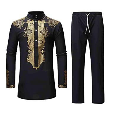 8fa2d13632ef aliveGOT Men s African Dashiki Long Sleeve Button Shirt Traditional Ethnic  Suit (Black