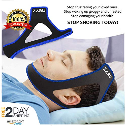 - ZARU Premium Anti Snore Chin Strap [2019 Upgraded Version] - Advanced Snoring Solution Scientifically Designed to Stop Snoring Naturally and Give You The Best Sleep of Your Life