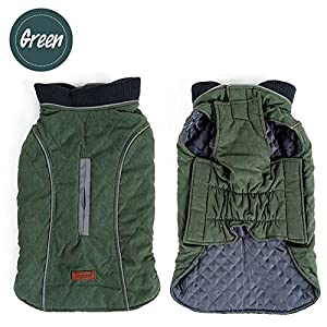 Sensfun Retro Large Dog Vest Cozy Winter Dog Jacket Pet Applares Christmas Outfits Green XL