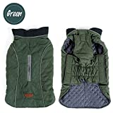 Sensfun Vintage Waterproof Windproof Dog Vest Zipper for Harness Thickened Dog Jackets Cottorn Pet Outfits Green XXXL Review