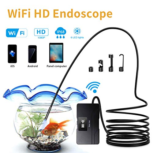 (Xiaomax Wireless Endoscope, WiFi 1080P HD Borescope Inspection Camera 2.0 Megapixels Semi-Rigid Snake Camera, Waterproof 6 Adjustable LEDs Support iOS/Android Smartphone, iPhone, Samsung, Tablet)