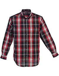 Mens Casual Long Sleeve Plaid Checked Button Down Shirt