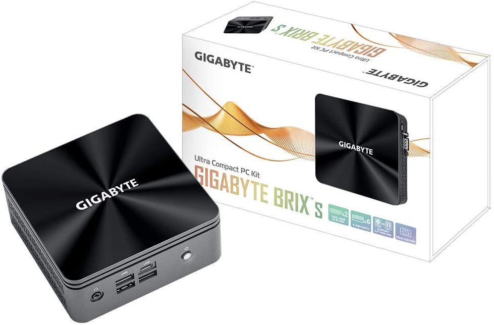 Gigabyte BRIX GB-BRI5H-10210 (Ultra Compact Mini PC/Dual SO-DIMM DDR4/Intel UHD Graphics 620/6xUSB 3.2 Gen2/ Intel Wireless-AC 3168/HDMI (2.0A)/Dual Band WiFi & Bluetooth 4.2/Gigabit LAN/RS232 Com)