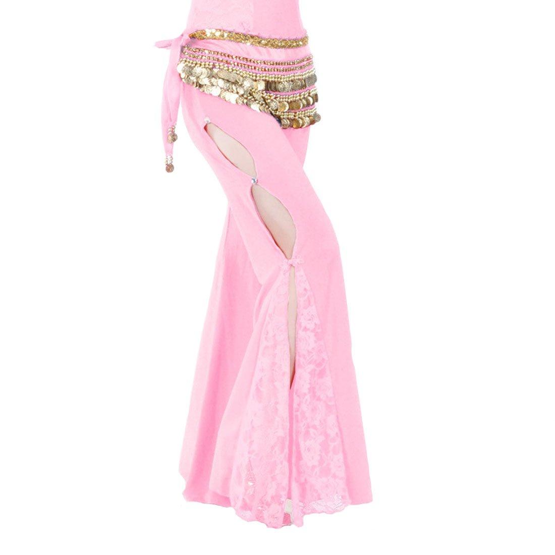 Calcifer Solid Lace Side Slits Belly Dance Pants Costume Dancewear For Women Professional Dancer