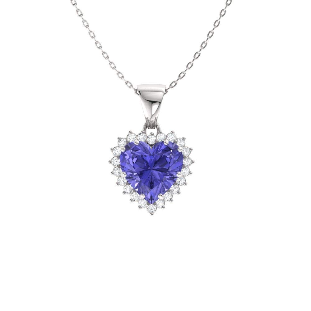 Diamondere Natural and Certified Heart Cut Tanzanite and Diamond Halo Necklace in 14k White Gold | 1.60 Carat Pendant with Chain