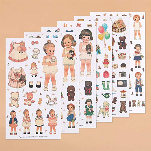 - 6 PCS/Pack New Cute Creative Stickers Paper Girl Combination Paper Doll Mate Diary Notebook Label Stationery Sticker