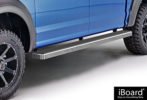 APS iBoard (Silver 5 inches) Running Boards | Nerf Bars | Side Steps | Step Rails for 2015-2018 Ford F150 SuperCrew Cab Pickup 4-Door / 2017-2018 Ford F-250/F-350 Super ()