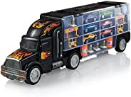 Play22 Toy Truck Transport Car Carrier - Toy Truck Includes 6 Toy Cars & Accessories - Toy Trucks Fits 28 Toy Car Slots - Gr