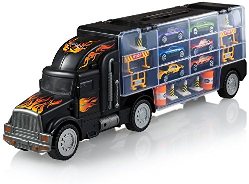 Toy Truck Transport Car Carrier - Toy truck Includes 6 Toy Cars and Accessories - Toy Trucks Fits 28 Toy Car Slots - Great car toys Gift For Boys and Girls - Original - By Play22 (Best Toy For 12 Year Old Boy)
