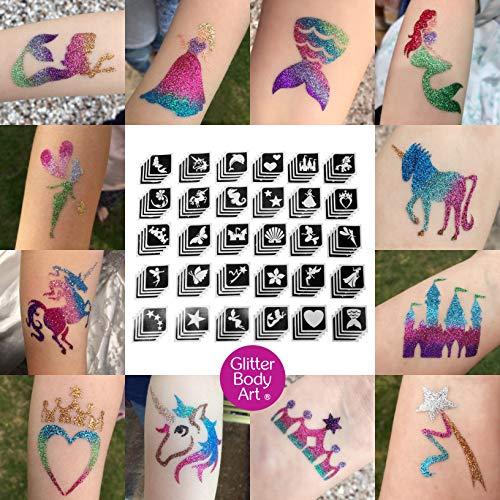 Girls Glitter Tattoo Stencil Bulk Pack x 120 Self Adhesive Stencils – Popular Girls Designs