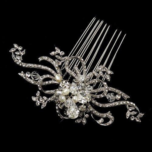 Hanna Antique Freshwater Pearl & Crystal Swirl Comb Wedding Bridal Special (Freshwater Pearl Swirl)