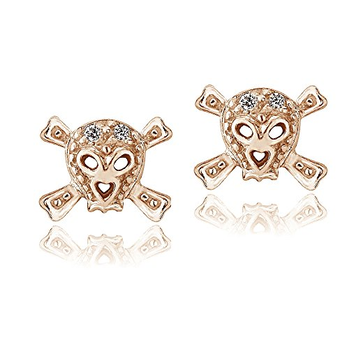 Rose Gold Flashed Sterling Silver Cubic Zirconia Skull and Cross Bone Stud Earrings