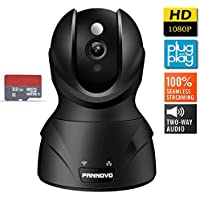 PANNOVO 1080P Wireless Wifi IP Security Camera with 32GB Card-Home Video Monitoring Surveillance Camera with Night Vision,Pan/Tilt