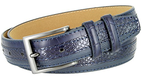 Genuine Leather Belt with Alligator, Lizard and Snake Skin Embossing (Navy, 40)