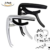 ONME 2 Pack Guitar Capo for Acoustic Electric Guitars Ukulele Banjo Mandolin Bass, Ultra Lightweight String Capo for 6 String Instruments - Black and Silver
