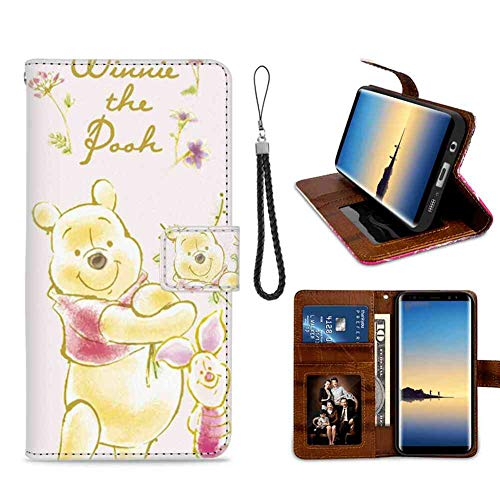Galaxy Note 8 Wallet Case (2017) [6.3 Inch] Winnie The Pooh and The Piglet Holding Flowers Series ()