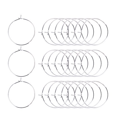 Heirtronic 100 Pieces Silver Plated Wine Glass Charm Rings Earring Open Beading Hoop Party (Wine Glass Earrings)