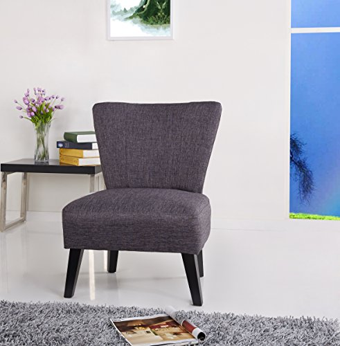 US Pride Furniture Alice Solid Color Fabric Accent Chair, Grey