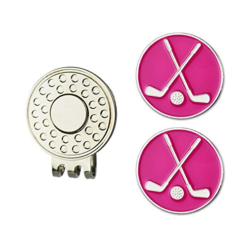 GOLTERS Assorted Color Golf Club Ball Marker and Magnetic Golf Hat Clip (Pink)