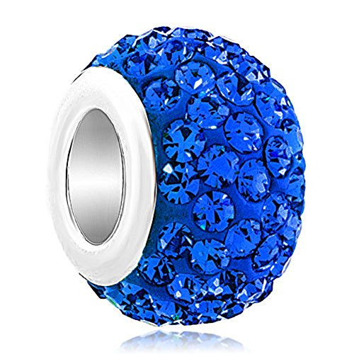ReisJewelry Birthday Charms Colorful Rhinestone Charm Spacer Beads For Bracelets (Blue) (Rhinestone Pandora)