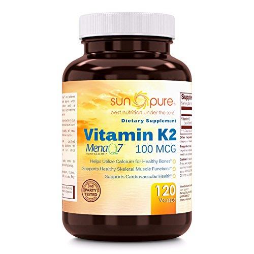 Mcg Vegetable 100 Capsules (Sun Pure Premium Quality Vitamin K2 100 mcg Veggie Capsules Glass Bottle 120 Count)
