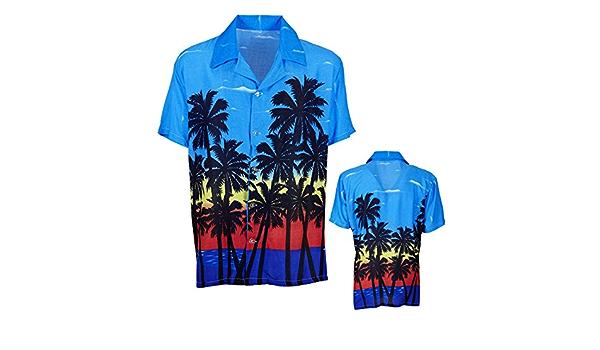 Amakando Camiseta Hawaii Palmeras Camisa Hawaiana M/L 50/52 Atuendo caribeño Ropa Palmera Aloha Top de Playa Disfraz Hula Hula