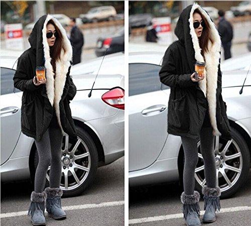Roiii Women Thicken Warm Winter Coat Hood Parka Overcoat Long Jacket Outwear Black Medium Black Medium by Roiii (Image #6)