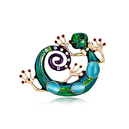 Enameled and Bejeweled Gecko Pin ()