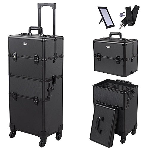 AW 2in1 4 Wheel Pro Aluminum Rolling Makeup Cosmetic Train Case 38'' Lockable Wheeled Box by AW