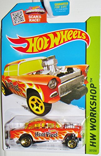 Hot Wheels 2015 HW Workshop '55 Chevy Bel Air Gasser 207/250, Orange free shipping