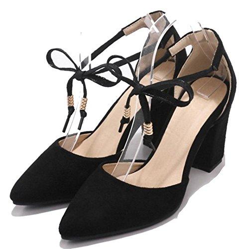 Ancho Black Tacon Mujer Bombas RAZAMAZA Zapatos Verano twaUcq0