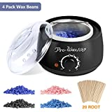 Wax Warmer Hair Removal Waxing Kit with 4 Flavors Hard Wax Beans and 20 Wax Applicator Sticks for Women and Men Home Use, 2018 LATEST VERSION