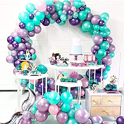 Mermaid Balloon Garland Arch Kit 17ft for Under the Sea Party Mermaid Birthday Baby Shower Ocean Theme Party Decoration (Silver Tail): Toys & Games