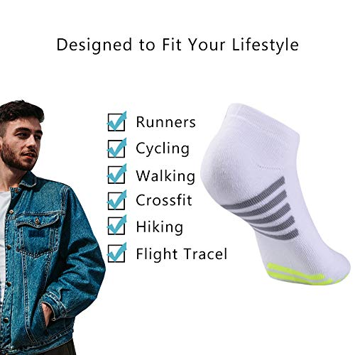 Mens Athletic Low Cut Ankle Socks Cushioned Running Sports Sock for Men 6 Pack