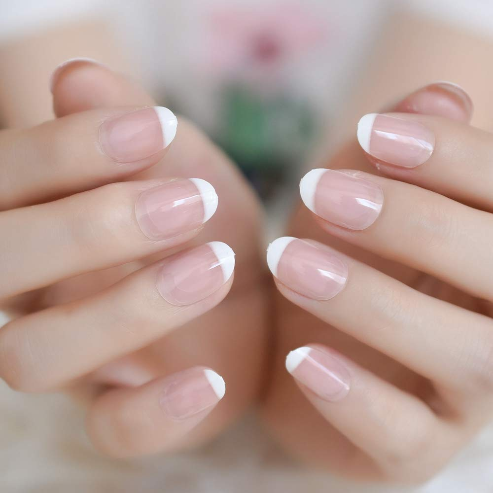 Amazon com : 24Pcs Classical Light Pink Clear French Nail Pointed