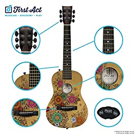 First Act Acoustic Guitar, 30 Inch – Top Features Flower Design – Brass Acoustic Guitar Strings, Tuning Gear, String…