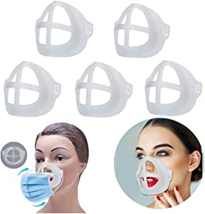 3D Bracket for Comfortable Wearing   Inner Support Frame   Keep Fabric off Mouth to Create More Breathing Space   Reusable Washable Translucent (Medium, Translucent, Pack of 5)