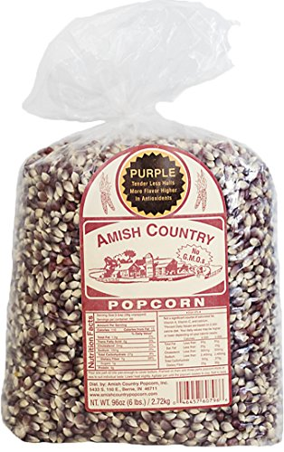 Amish Country Popcorn - Purple Popcorn (6 Pound Bag) - with Recipe Guide and 1 Year Freshness Warranty