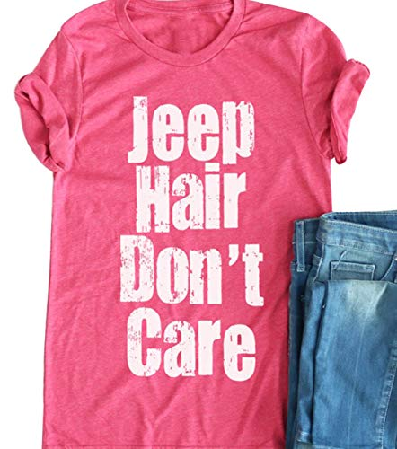 Women Jeep Hair Don't Care T-Shirt Short Sleeve Cute Funny Letter Print Shirt Size M (Pink) ()