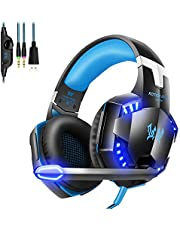 G2000 Gaming Headset, Noise Canceling Headphones with Mic ,LED Light and Soft Memory Earmuffs,7.1 Surround Sound Stereo Gaming Headset For PC, Laptop, PS4, Xbox One Controller and Nintendo Switch
