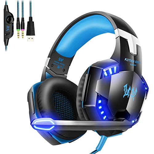 G2000 Stereo Gaming Headset Compatible Xbox One Controller, PS4, PC, Laptop,Three-Interface Gaming Headset with Noise Canceling Mic & LED Light, Skin Care Protein Earmuffs (Black+Blue)