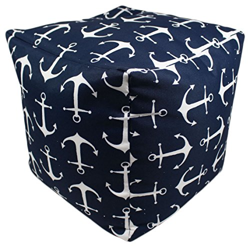 Ottoman Nautical (Deep Navy Blue Anchors Indoor/Outdoor Square Pouf Ottoman Cube)