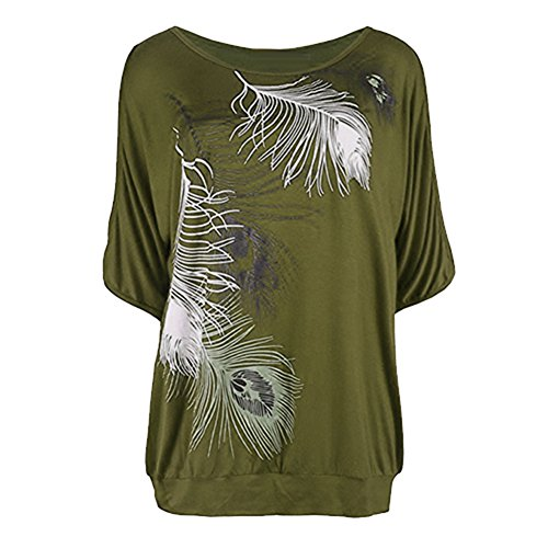 Imprime en Chemise Off Sexy Arme Verte Casual Loose Epaule Chemises Courte Chemisier Femme Manche Plumes Blouse Rond Yuxin Shirt Col Fit Mode t qwR7PCf