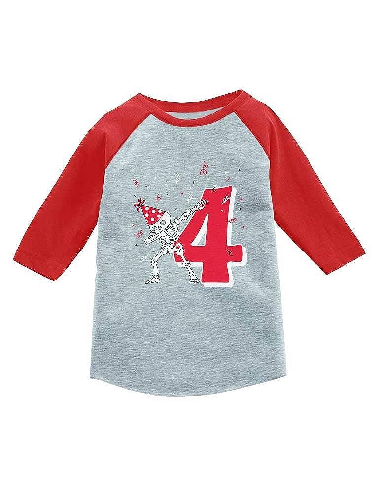 Tstars Dabbing Skeleton 4th Birthday Four Dab 3//4 Sleeve Baseball Jersey Toddler Shirt