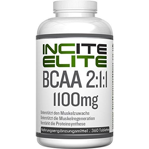 BCAA Tabletten 2:1:1 max. Wirksamkeit 1100mg 360 Tabletten - GELD-ZURÜCK-GARANTIE - Für Männer & Frauen geeignet - Verzweigtkettige Aminosäuren - Großartige Ergänzung und perfekte Dosierung für Bodybuilding, Gewichtsreduzierung und Training - Hergestellt in Europa