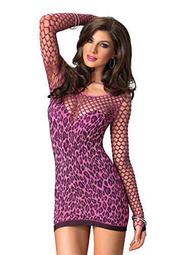 Leg Avenue Women's Seamless Leopard Mini Dress, Fuchsia, One Size