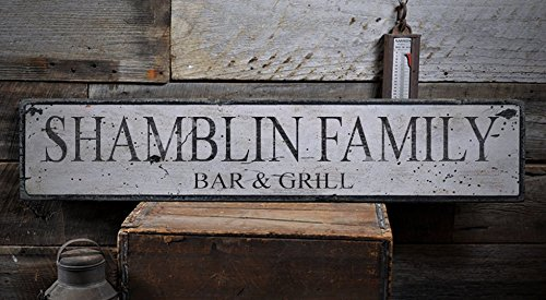 Rustic SHAMBLIN FAMILY BAR & GRILL Hand-Made Wooden Lastname Sign - 11.25 x 60 Inches by The Lizton Sign Shop