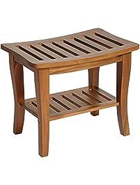 briar acacia wood slat 1shelf shower bench - Shower Benches