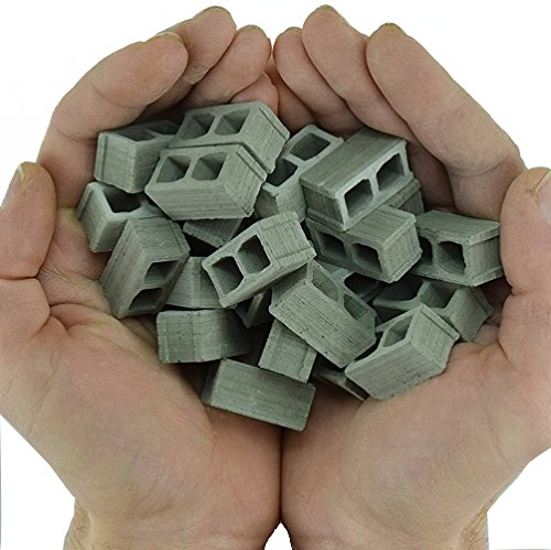 Model Railroad Diorama (24 REAL MINI CINDER BLOCKS - gift ideas for men | birthday gifts for boyfriend | gifts for him, dad | scale diorama supplies, model railroad, dollhouse miniature accessories, fairy garden)
