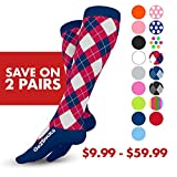 GO2 Compression Socks for Women & Men-Nurses,Running,Travel,Maternity-20-30mmHg (high) Medical Stocking-Graduated Fit Crossfit,Cycling,Hiking-Best Performance,Recovery,Circulation & Stamina(2RWBArg,M)